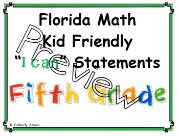 "Florida Math ""I Can"" Statements 5th Grade"