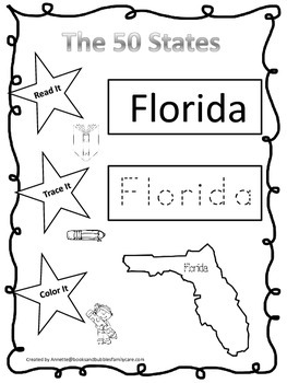 Florida Read it, Trace it, Color it Learn the States presc