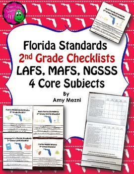 Florida Standards LAFS MAFS NGSSS 2nd Grade Checklists Lay