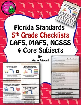 Florida Standards LAFS MAFS NGSSS 5th Grade Checklists Lay