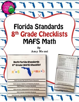 Florida Standards MAFS Math Mathematics 8th Grade Checklis