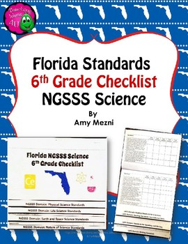 Florida Standards NGSSS Science 6th Grade Checklist Layere