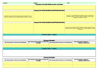 Florida Standards/Marzano Interactive Lesson Plan Template