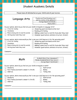 Florida Tutor Academic Information Sheet