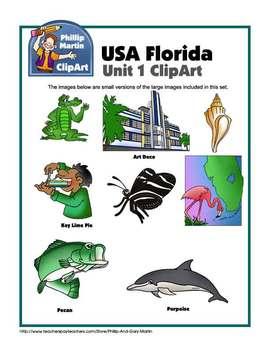 Florida Unit 1 Clip Art and Coloring Sheets