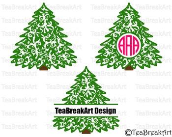 Flourish Christmas Tree Pattern Zentangle Monogram Digital
