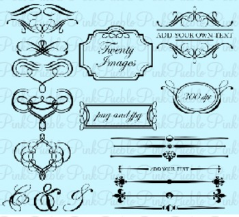 Flourishes and Frames Clip Art - Commercial Use