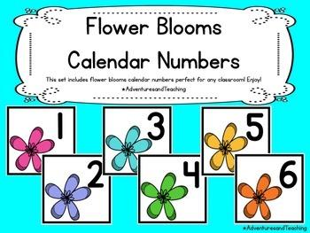 Flower Blooms Calendar Numbers