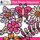 Pink Flower Clip Art {Glitter Botanicals & Blossoms for Sp
