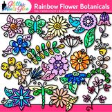 Rainbow Flower Clip Art {Glitter Botanicals & Blossoms for