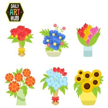 Flower Bouquet Clip Art - Great for Art Class Projects!