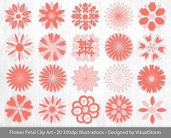 Flower Clip Art - Pink and Coral, Rose Quartz and Peach Ec