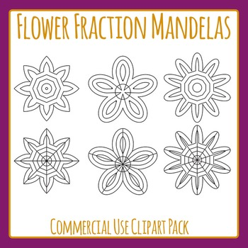Flower Color In Fraction Mandelas Clip Art Set for Commercial Use