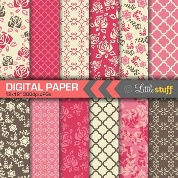 Flower Digital Papers, Floral Backgrounds, Chocolate Brown