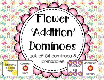 Flower Dominoes; Use For Addition, Joining Groups & Fact F