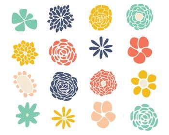 Flower Doodle Clipart, Doodle Clipart, Flower Clipart Set #024