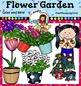 Flower Garden Clip Art set1. Color and B&W