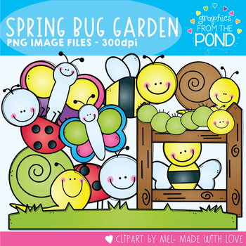 Spring Bug Garden Clipart Set