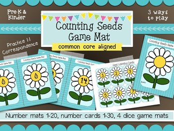 Flower Math Counting Mats- 3 Easy Prep Seed Counting Games