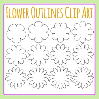 Flower Outlines / Borders / Shapes Clip Art Set for Commer