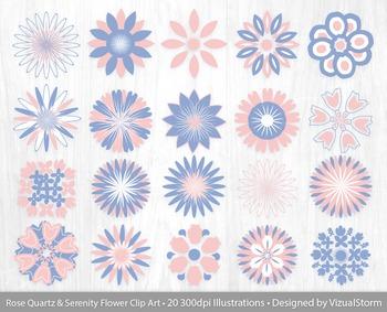 Flower Petal Clip Art, 20 Rose Quartz and Serenity Floral