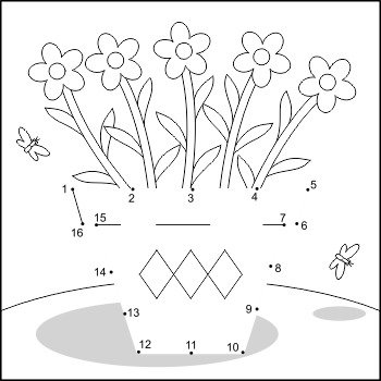 Flower Pot Connect the Dots and Coloring Page, Commercial