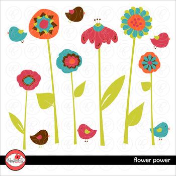 Flower Power Bird and Flower Clipart by Poppydreamz