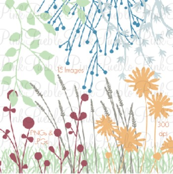 Flower Silhouettes Clip Art - Personal and Commercial Use