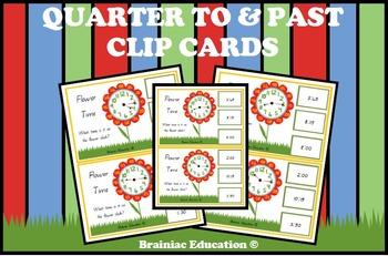 Flower Time Quarter Past and Quarter To Clip Cards