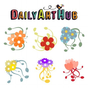 Flower Vines Clip Art - Great for Art Class Projects!
