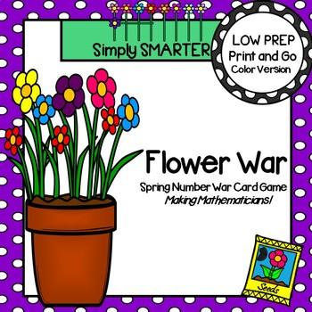 Flower War:  LOW PREP Spring Themed Number Comparison War