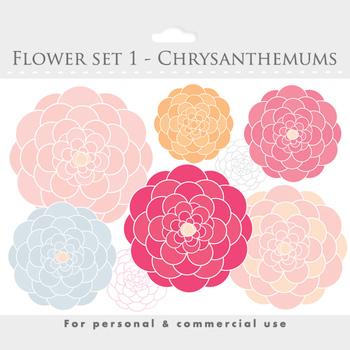 Flower clipart - blooms clipart, flowers, floral, floral c