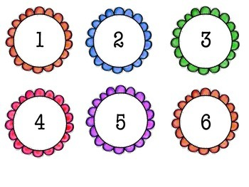 Flower style cubby numbers