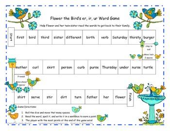Flower the Bird's R-Controlled Vowel Er, Ir, Ur Word Game