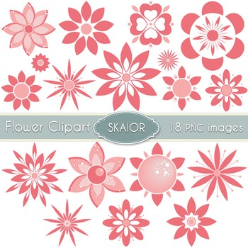 Flowers Clipart Coral Pink Flowers Floral Clip Art Scrapbo