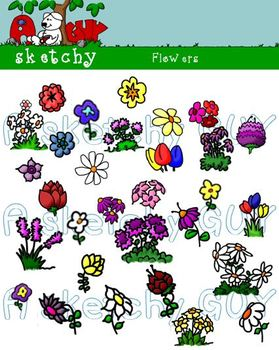 Flowers Clipart Graphics - 300dpi Color and Black Lined Tr