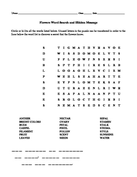 Flowers Word Search and Hidden Message