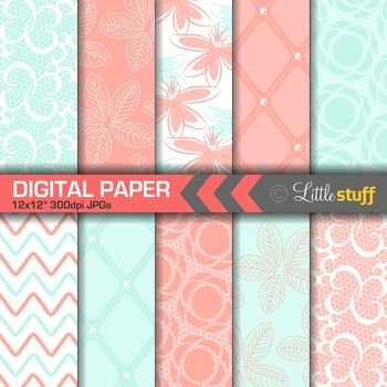 Flowers and Lace Digital Paper, Turquoise and Coral