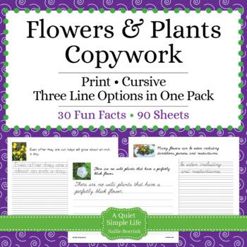 Flowers and Plants Unit - Copywork - Cursive - Handwriting