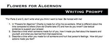 Flowers for Algernon-Bullying Writing Prompt