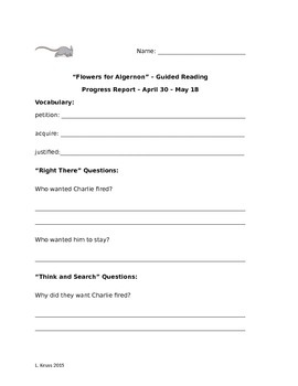 Flowers for Algernon - Guided Reading Packet 6 - April 30