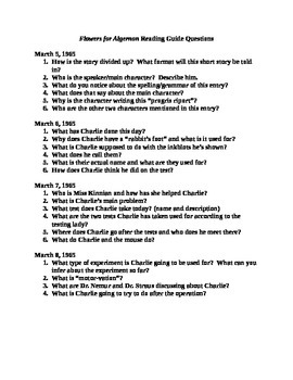 Flowers for Algernon Reading Guide for section March 5-8