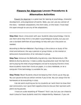 """""""Flowers for Algernon"""" Writing Activity, Before, During, & After"""