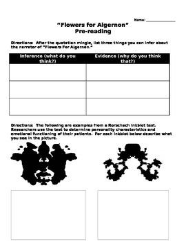 """Flowers for Algernon"" pre-reading activity"
