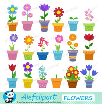 Flowers in pots - clip art. Digital clipart . Instant Download