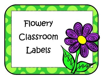 Flowery Classroom Labels Frames Purple Green Word Wall