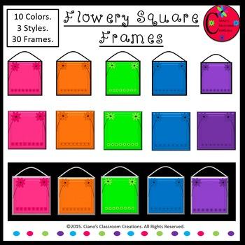 Flowery Square Frames