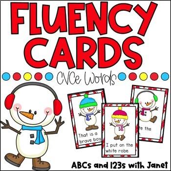Fluency Cards {cvce words, winter theme}