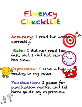 Fluency Checklist Anchor Chart, Poster, Interactive Notebo