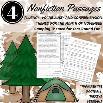 Fluency Passages CAFE ~ November Fluency, Comprehension, V